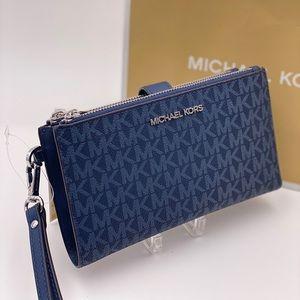 Michael Kors Double Zip Wallet Wristlet Admiral
